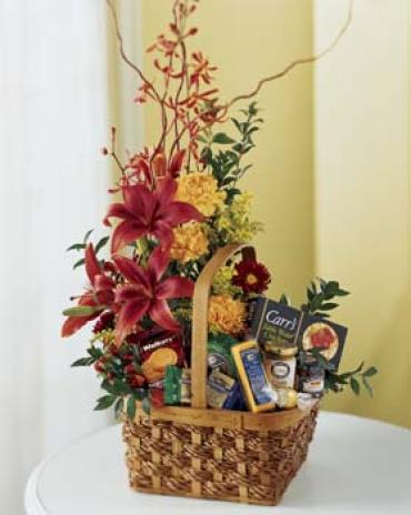 Fresh Flowers & Gourmet Basket