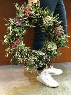 Fresh Olive and succulent wreath