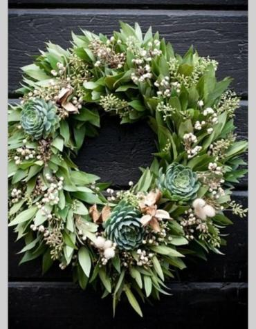 Fresh Bay & Succulent Door Wreath