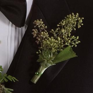 Boutonniere -Seeded Eucalyptus